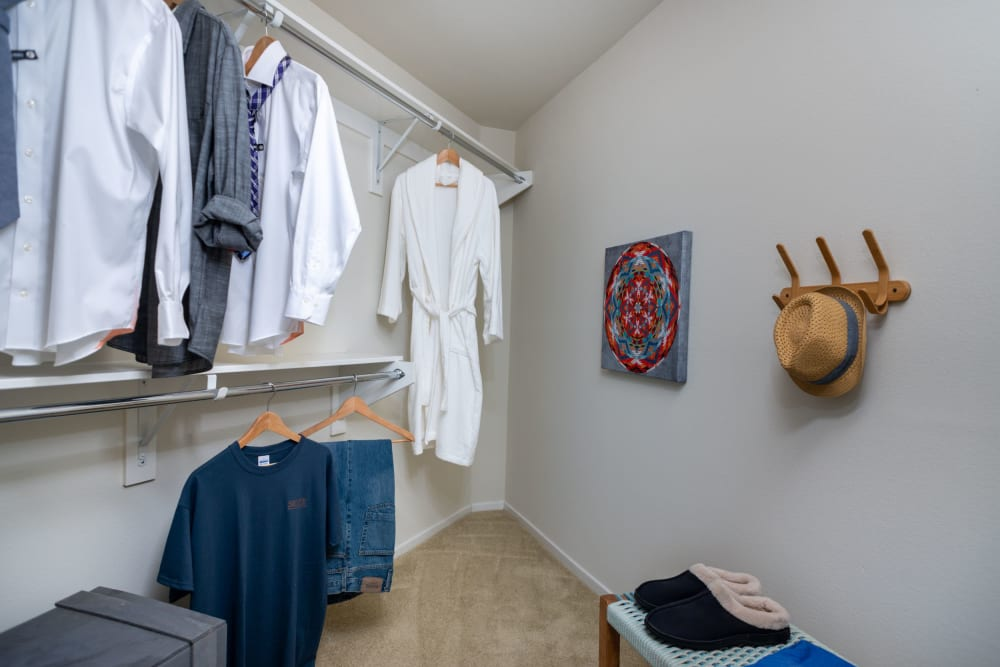 Walk-in closet of master bedroom at Olympus Corsair in San Diego, California