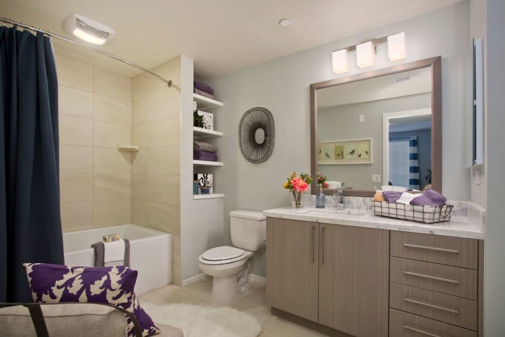 Spacious master bathroom at Olympus Corsair in San Diego, California