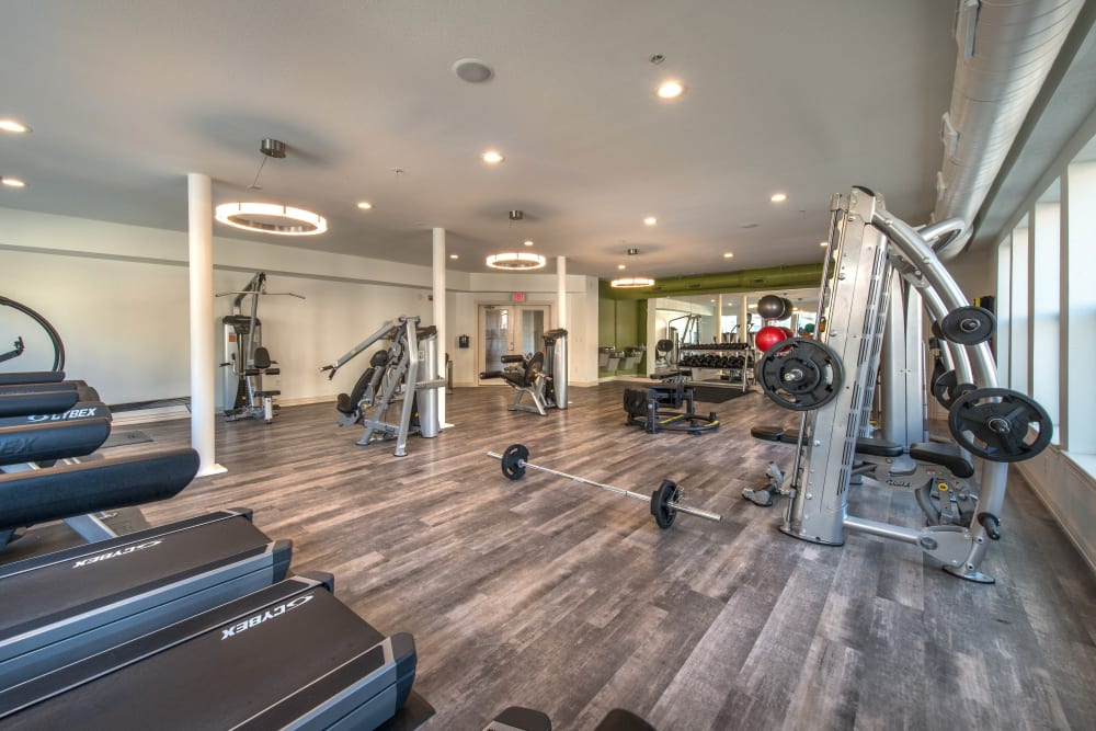 Very well-equipped onsite fitness center at Olympus Las Colinas in Irving, Texas