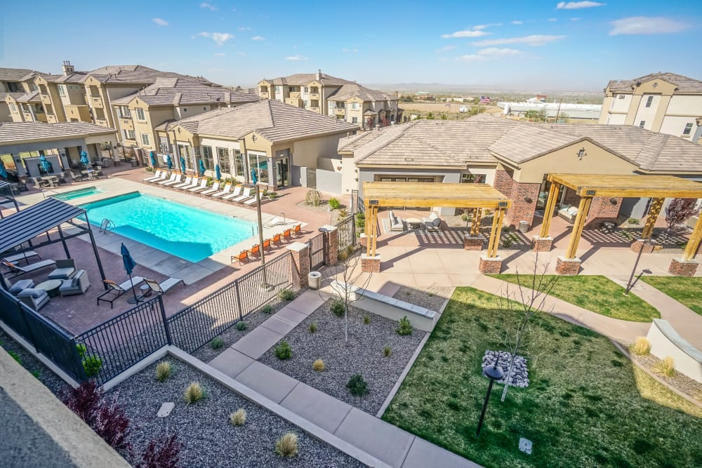 Low aerial view of our luxury community at Olympus Northpoint in Albuquerque, New Mexico
