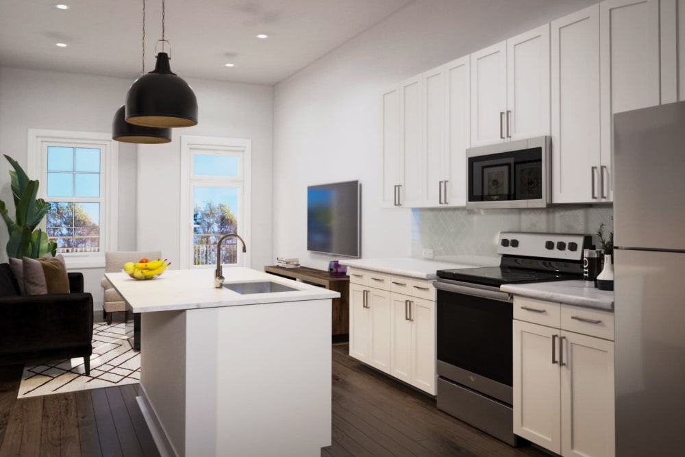 Rendering of kitchen amenities at Arcadia Decatur in Decatur, Georgia