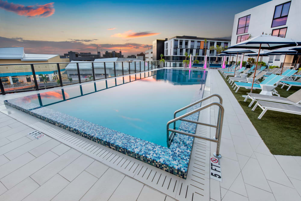 Sparkling swimming pool at The Flats in Doral, Florida