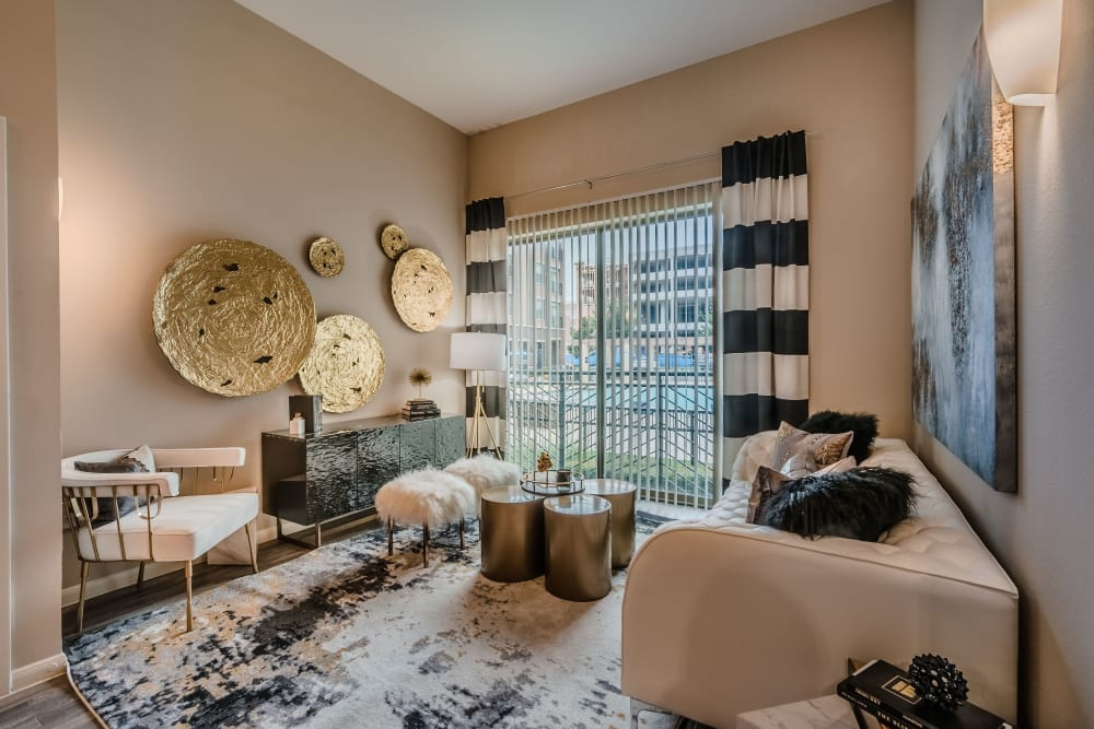 Eclectic living room at Olympus Boulevard in Frisco, Texas