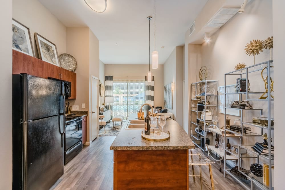 Model kitchen of Olympus Boulevard in Frisco, Texas