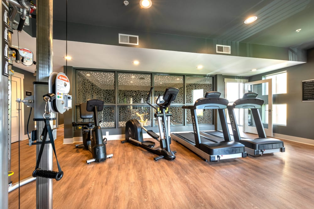 Well-equipped onsite fitness center at Olympus Solaire in Albuquerque, New Mexico