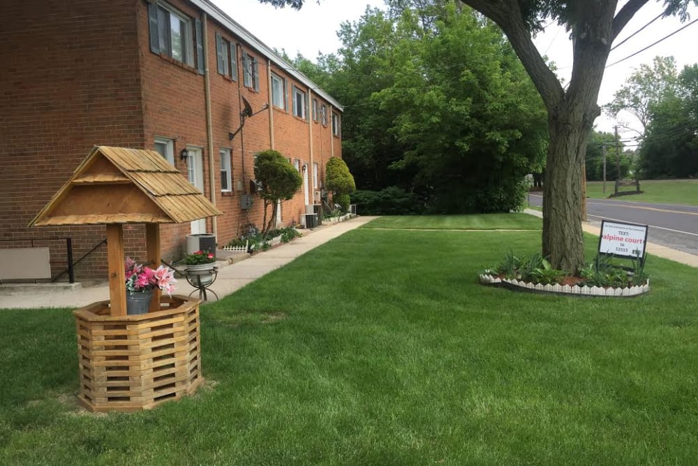 Private patios at Alpine Court Apartments in Stratford, New Jersey