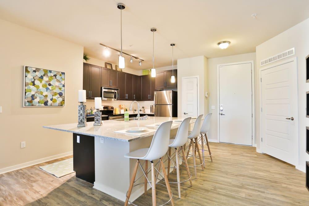 Beautiful hardwood floors and granite countertops in a model apartment's kitchen at Olympus Steelyard in Chandler, Arizona