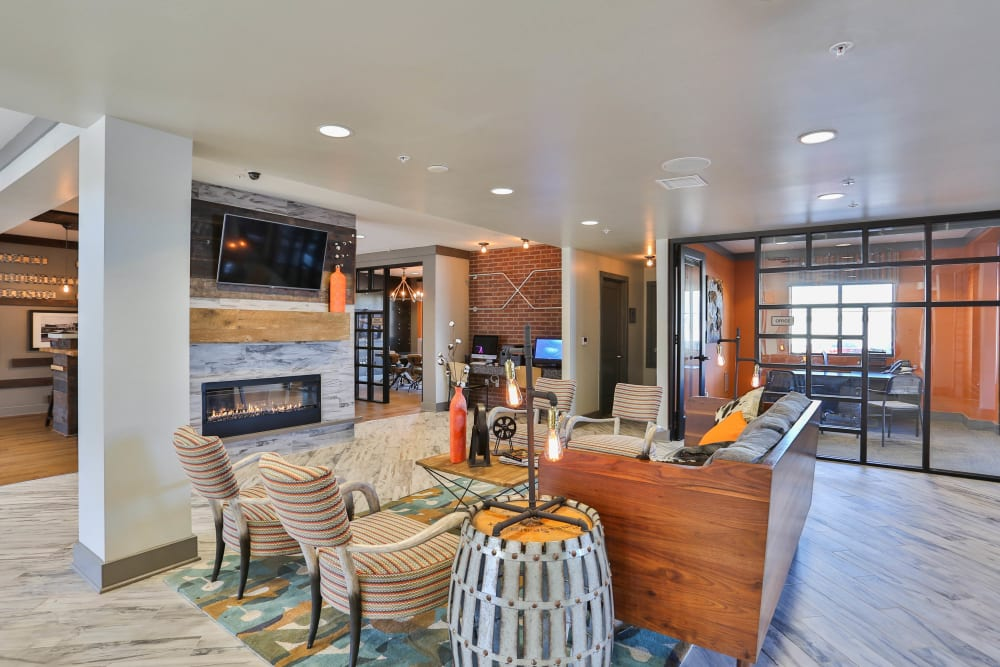 Lounge area in the leasing center at Olympus Steelyard in Chandler, Arizona