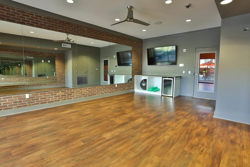 Yoga room in the fitness center at Olympus Steelyard in Chandler, Arizona