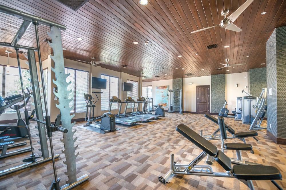 Bright clean gym at Olympus Encantada in Albuquerque, New Mexico