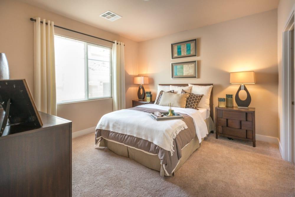 Bright master bedroom window at Olympus Encantada in Albuquerque, New Mexico
