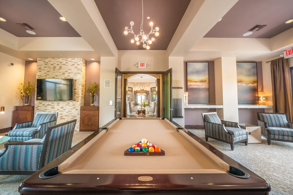 Pool table in the clubhouse at Olympus Encantada in Albuquerque, New Mexico
