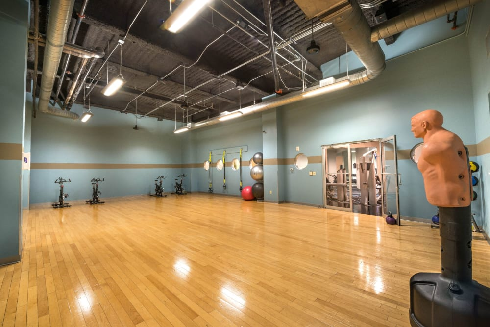 Large fitness center at Mosaic Dallas in Dallas, Texas