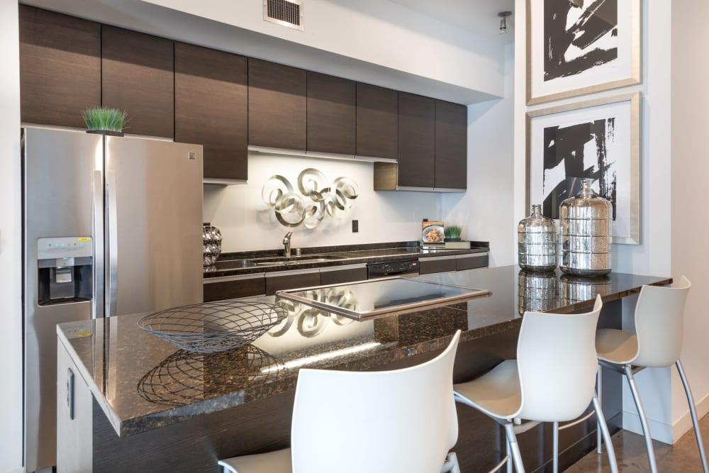 Kitchen island at Mosaic Dallas in Dallas, Texas