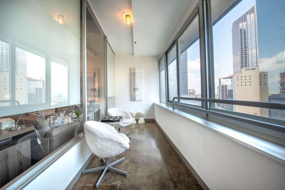 Private balcony with city view at Mosaic Dallas in Dallas, Texas