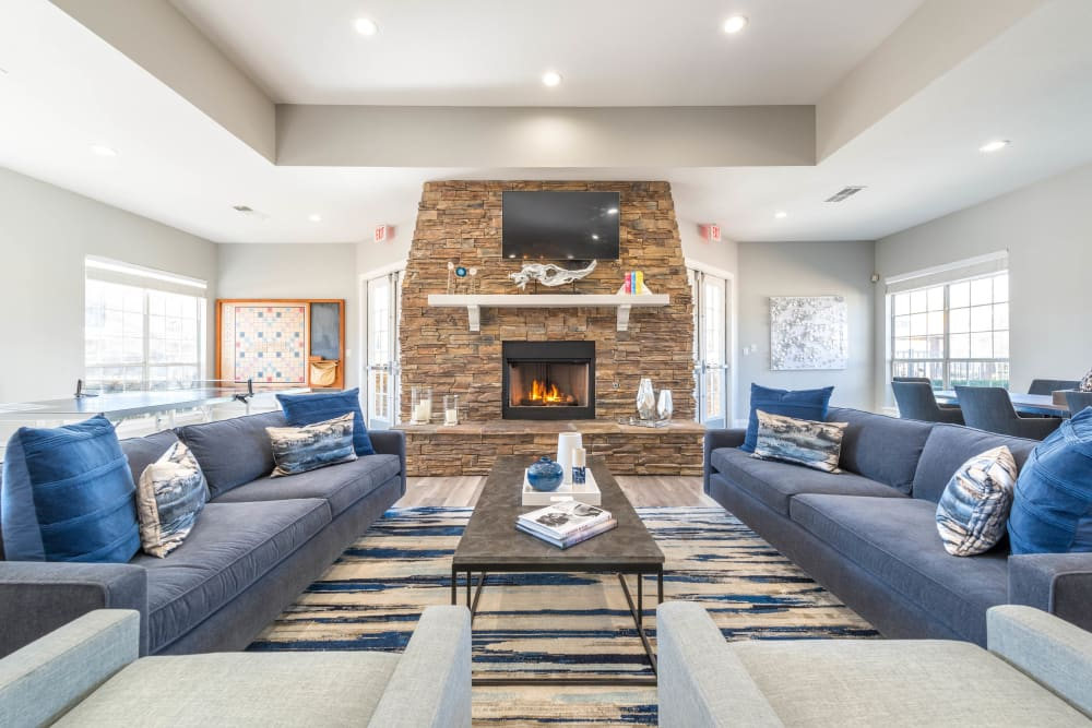 Lavishly furnished resident clubhouse lounge at Olympus Stone Glen in Keller, Texas