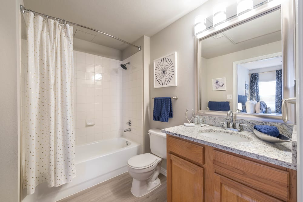 Master bathroom with a large vanity mirror and a tiled shower in a model apartment at Olympus Stone Glen in Keller, Texas