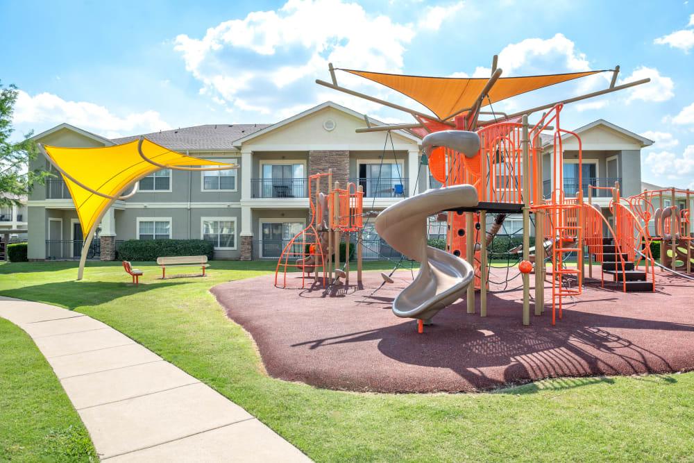Brand-new children's playground at Olympus Stone Glen in Keller, Texas