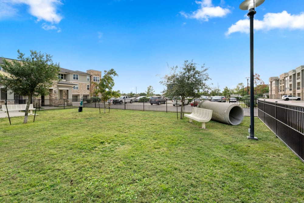 Onsite dog park at Olympus Grand Crossing in Katy, Texas