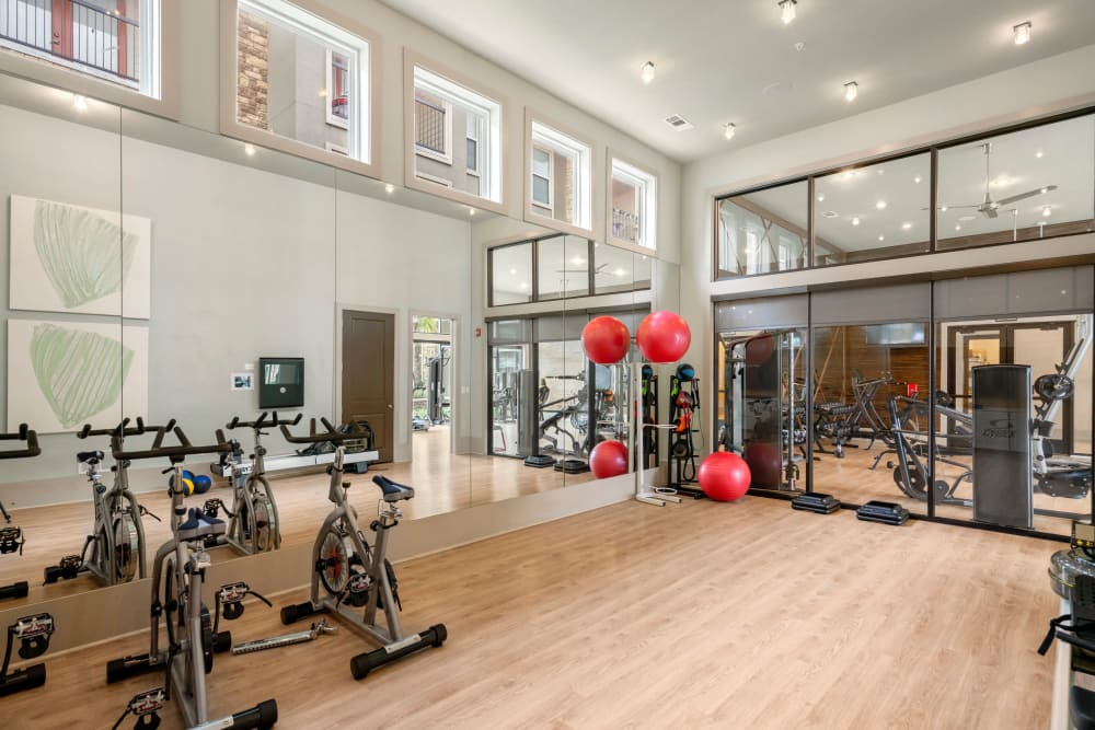 Yoga and spin studio space in gym at Olympus Grand Crossing in Katy, Texas