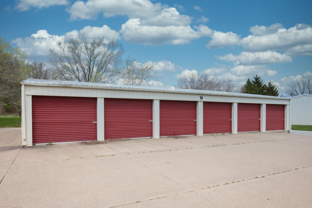 Large red unit doors at StayLock Storage in Bettendorf, Iowa