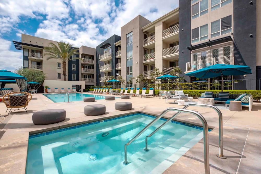 Resort-style swimming pool at Sofi Warner Center in Woodland Hills, California