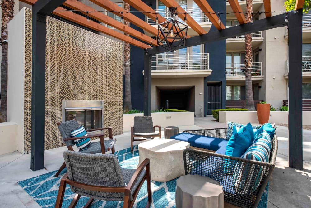 Plenty of outdoor seating at Sofi Warner Center in Woodland Hills, California