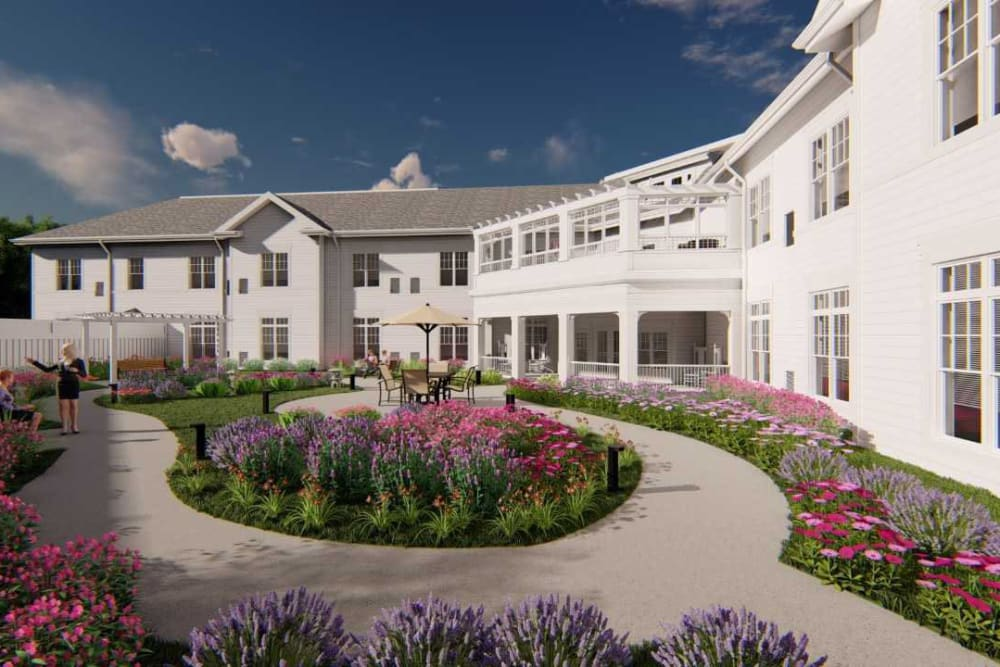 A beautiful garden area at White Springs Senior Living in Warrenton, Virginia