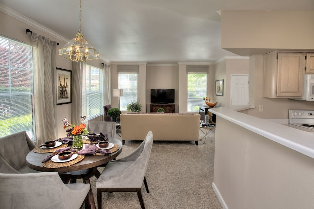 Dining room overlooking the living room at The Vintage at South Meadows Condominium Rentals in Reno, Nevada
