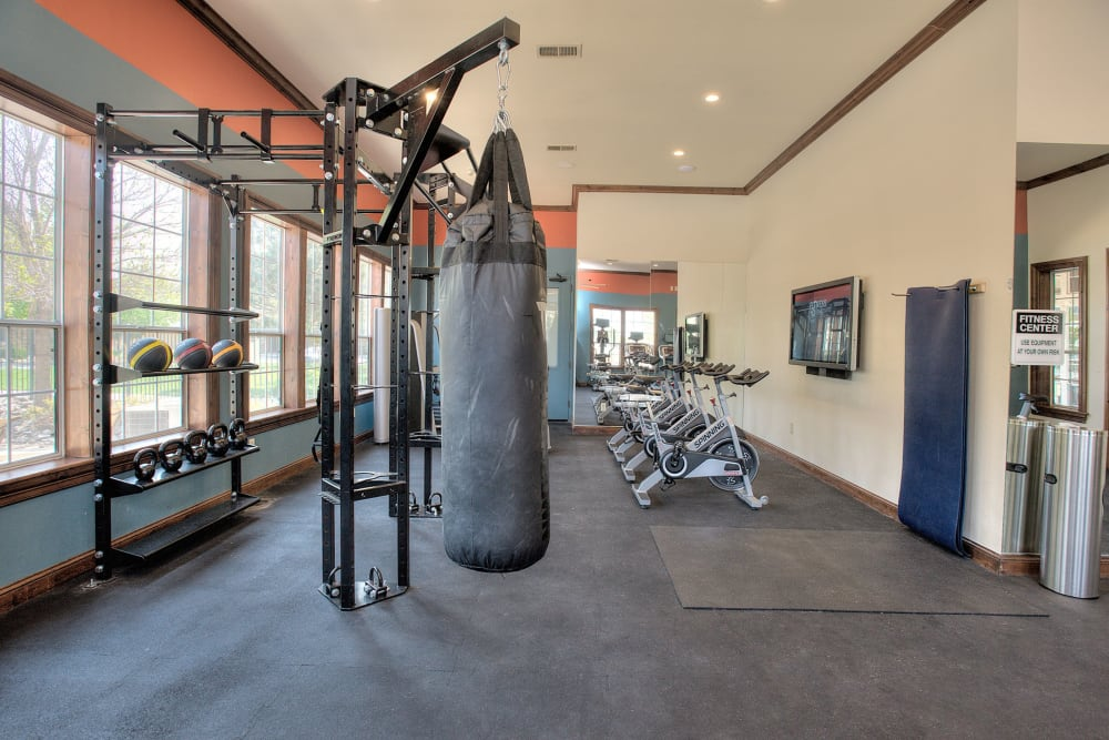 Fitness center with a punching bag at The Vintage at South Meadows Condominium Rentals in Reno, Nevada