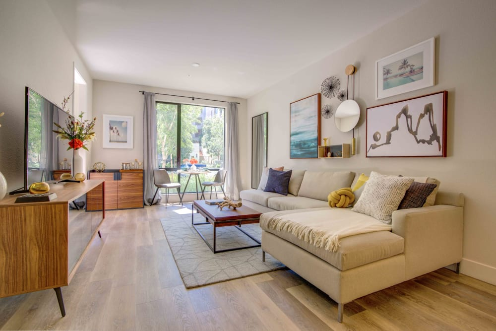 Living Room with hardwood floors at Sofi Riverview Park in San Jose, California