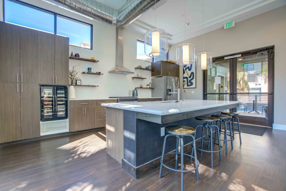 Kitchen in Clubhouse at Sofi Riverview Park in San Jose, California