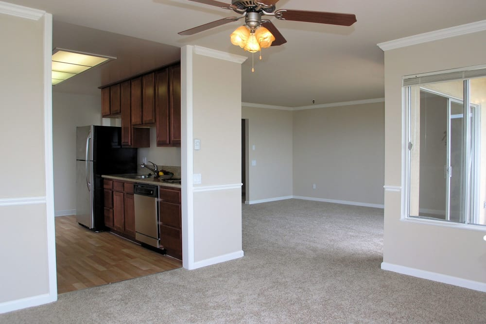 Spacious living room with plush carpeting and a ceiling fan at Tower Apartment Homes in Alameda, California