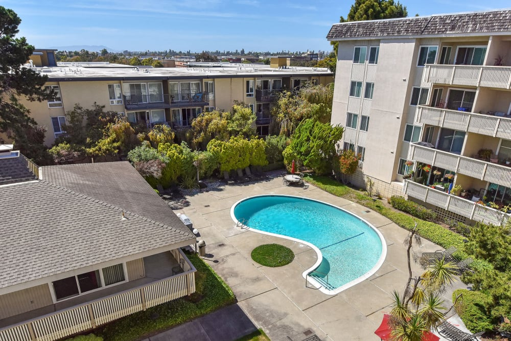 Aerial view of the swimming pool and lawn at Tower Apartment Homes in Alameda, California