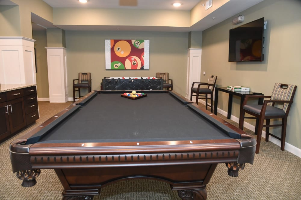 Billiards table at Artistry at Craig Ranch in McKinney, Texas