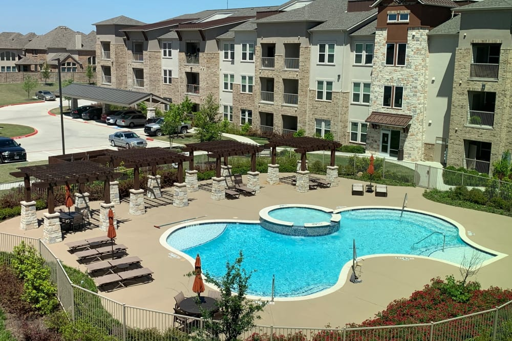 Sparkling pool on a sunny day at Artistry at Craig Ranch in McKinney, Texas