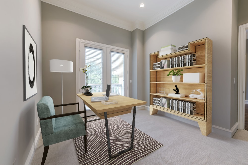 Home office setup in one of the bedrooms at Rienzi at Turtle Creek Apartments
