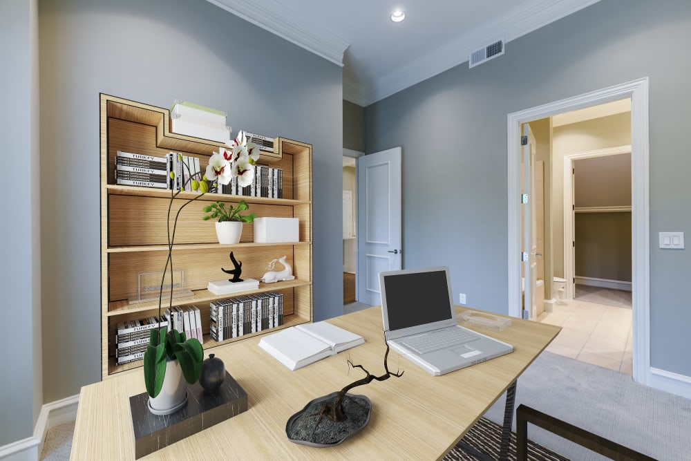 Second bedroom used for a home office at Rienzi at Turtle Creek Apartments