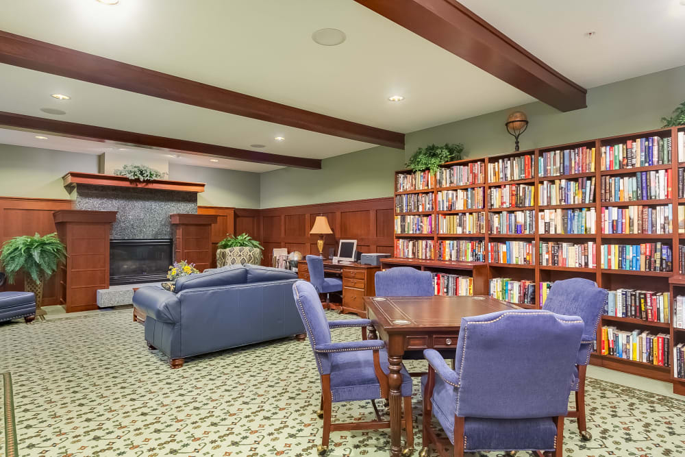 A library at Applewood Pointe of New Brighton in New Brighton, Minnesota.