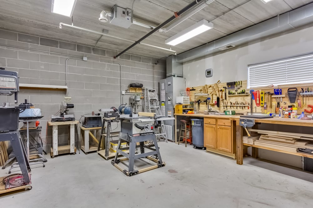 Woodworking shop at Applewood Pointe of Roseville in Roseville, Minnesota