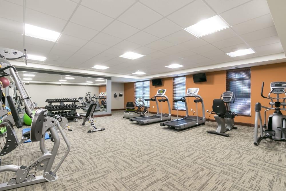 A resident fitness room at Applewood Pointe Roseville at Central Park in Roseville, Minnesota.