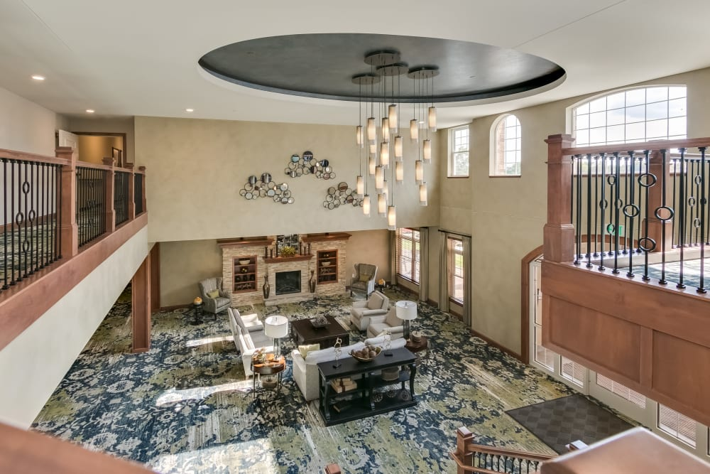 Spacious lobby at Applewood Pointe Roseville at Central Park in Roseville, Minnesota.