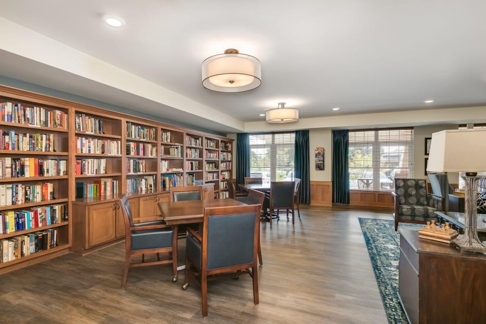 Resident library at Applewood Pointe Roseville at Central Park in Roseville, Minnesota.