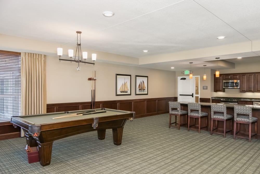 A game room at Applewood Pointe Roseville at Central Park in Roseville, Minnesota.