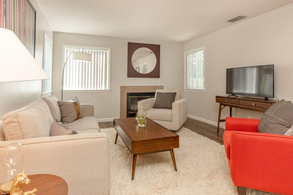 Spacious living room with lots of windows at Shaliko in Rocklin, California