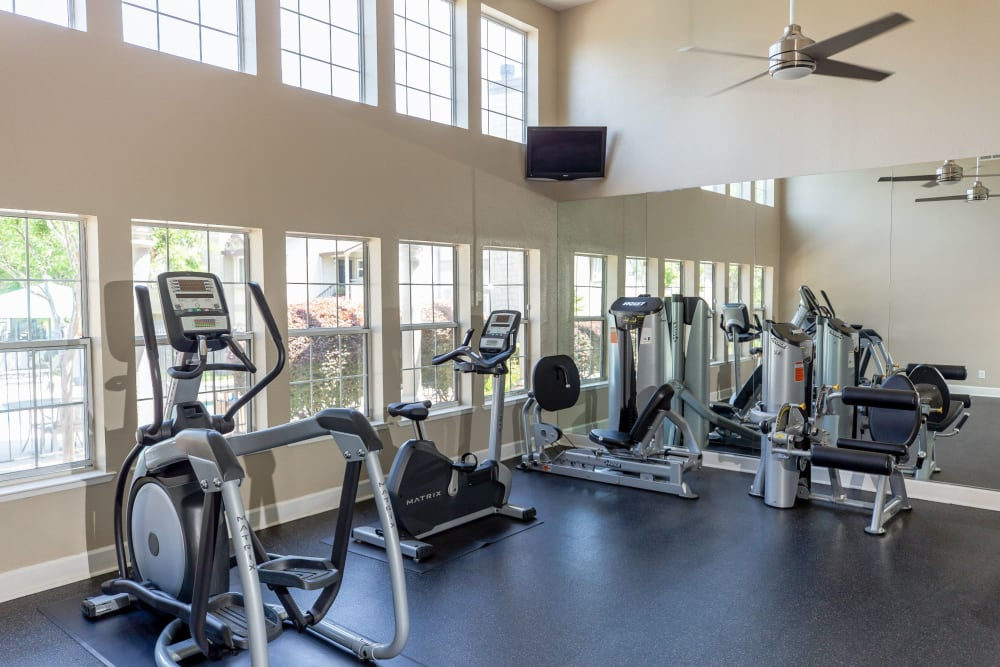 Spacious gym with lots of windows for natural lighting at Shaliko in Rocklin, California