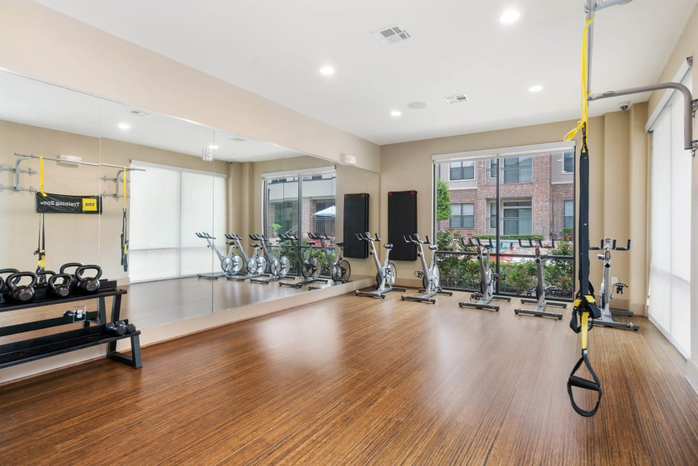 Spin and yoga room at Olympus Sierra Pines in The Woodlands, Texas