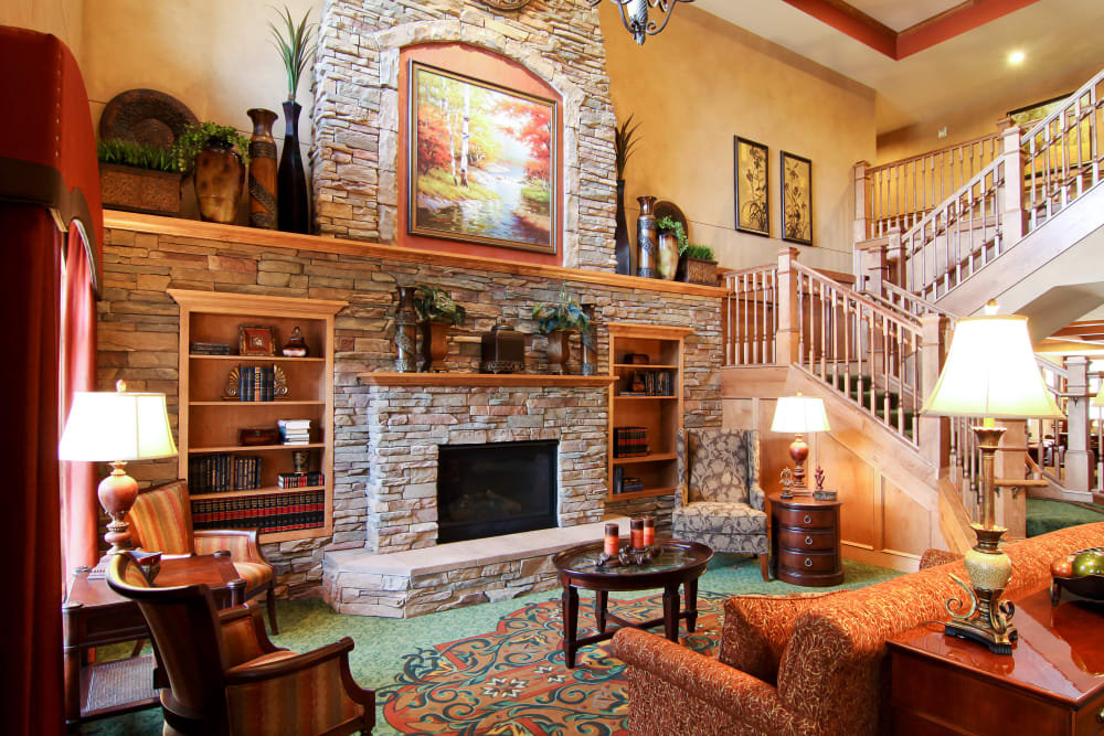 Lobby with a fireplace at Applewood Pointe Roseville at Langton Lake in Roseville, Minnesota.