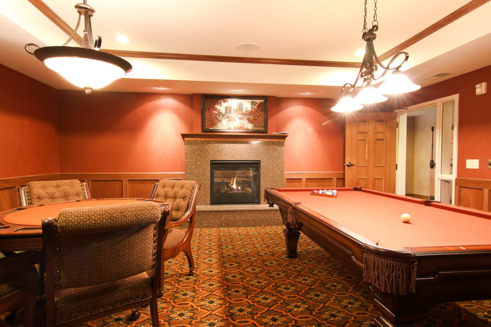 A game room at Applewood Pointe of Roseville at Langton Lake in Roseville, Minnesota.