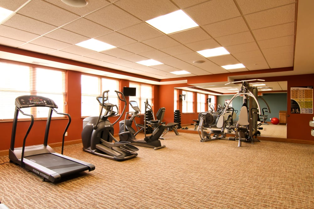 Resident fitness center at Applewood Pointe of Roseville at Langton Lake in Roseville, Minnesota.